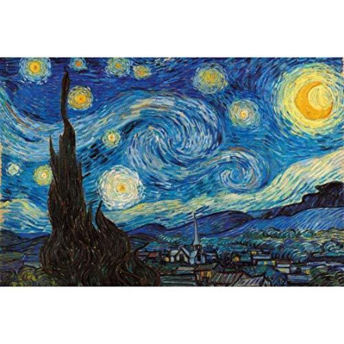Fun-PT Jigsaw Puzzle Piezas 300/500/1000/1500/2000/3000/5000/5700 en Adultos y niños, Mundo Famoso Cuadro Pesca Estrellada de Van Gogh Girasol Puerto Pintura al óleo de DIY Hecho a Mano