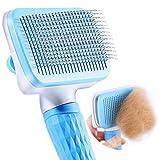 Cepillo para mascotas, para perros y gatos, para eliminar el pelo largo y pelo corto, pelo limpio del cepillo con un botón, cepillo para pelaje inferior, limpieza rápida