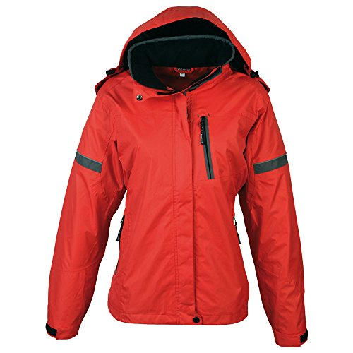 Schwarzwolf outdoor Veste Coupe-Vent pour Femme - Tissu imperméable - Colonne d'eau : 30 000 mm - Respirabilité : 6 500 MVP - Capuche Amovible - Bonete - Rouge