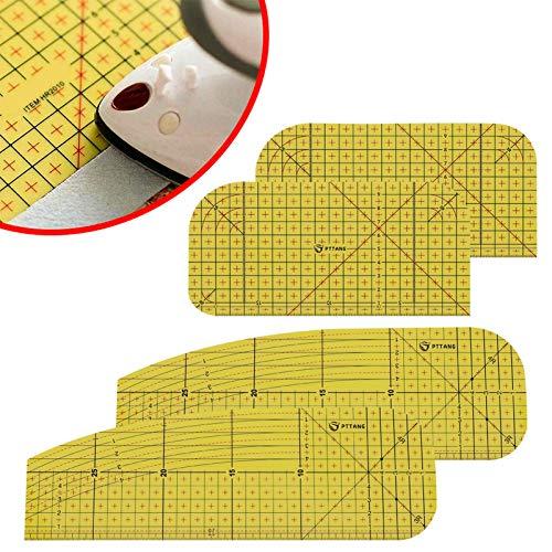Firtink 4 Stücke Heißbügellineal Bügellineal Hitzebeständig Hitzebeständiges Lineal zum Aufbügeln, Basteln, Messen, DIY, Tragbar, Zubehör