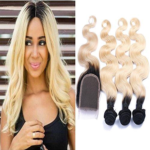 Carina Hair Dark Roots Blonde T1B/613 Ombre Virgin Body Wave Peruvian Hair With Closure 3 Bundles With 1 Closure Size:16 18 20Inch+14Inch Closure