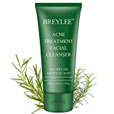Acne Face Wash, BREYLEE Acne Treatment Facial Cleanser Tea Tree Acne Face Wash With Salicylic Acid To Prevent And Treat Breakouts, Stubborn Acnes And Pimples Gentle & Non-irritating (3.53FL OZ, 100G)