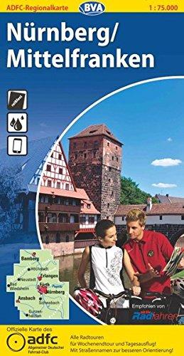 ADFC Regionalkarte Nürnberg/Mittelfranken mit Tagestouren-Vorschlägen, 1:75.000, reiß- und wetterfest, GPS-Tracks Download (ADFC-Regionalkarte 1:75000)