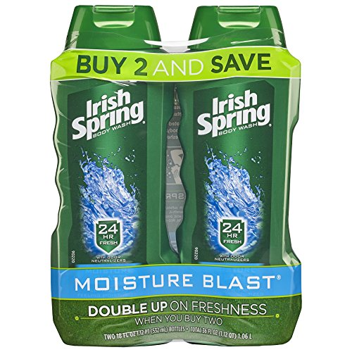Irish Spring Moisturizing Men's Body Wash, Moisture Blast - 18 fluid ounce (2 Pack)