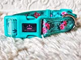 Mon Chien Boutique Collier pour Chien en Nylon Solide et réglable Motif Fleur