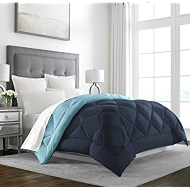 Sleep Restoration Goose Down Alternative Comforter - Reversible - All Season Hotel Quality Luxury Hypoallergenic Comforter - Full/Queen - Navy/Sky Blue