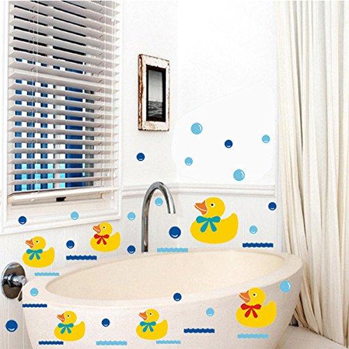 Bazaar Vinyle Salle de bains stickers muraux caoutchouc famille de canard et bulles décoration