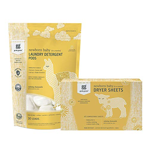 Grab Green Stage Months Natural Newborn Baby Laundry Detergent Pods and Dryer Sheets Kit OrganicEnzymePowered Powder Pods Compostable Dryer Sheets 40 Loads, Calming Chamomile, 2 Count