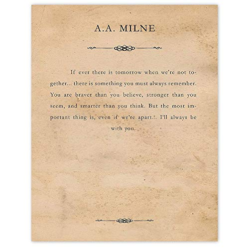 A A Milne Winnie the Pooh Classic Always Remember Quote, 11x14 Unframed Typography Book Page Poster Prints, Great Wall Art Decor Gifts Under 15 for Home, Garage, Studio, Student, Teacher, Children
