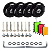 MOCOUM 4 pcs Luggage Suitcase Replacement Wheels, Mute Wear-Resistant Rubber Swivel Caster Wheels Repair Sets, Free Axles Wrench Deluxe Repair (4pcs 60 x 18mm)