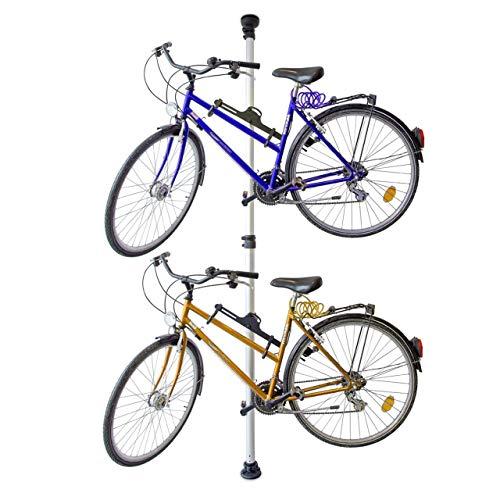 Relaxdays Sonstiges Teleskop-fahrradhalterung Für 2 Fahrräder Verstellbar, silber und schwarz, STANDARD (160-340 Cm)