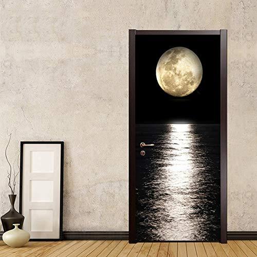 dalongshan türposter,PVC Tür Aufkleber 3D Nacht Mond Meeresspiegel Ansicht Tür Dekoration Wohnzimmer Esszimmer Vinyltür Wandbilder Tapete 3D Tür Poster 90x200cm