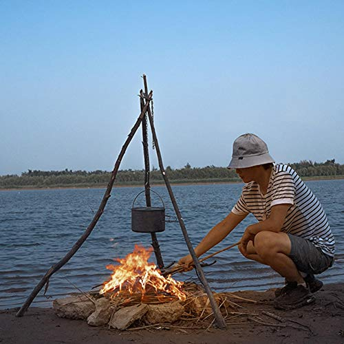 Camping Tripod Board, Turn Branches Into Campfire Tripod, Campfire Grill Tripod, Barbecue Rack Hanger, Cooking Lantern Tripod Hanger for Camping Activities