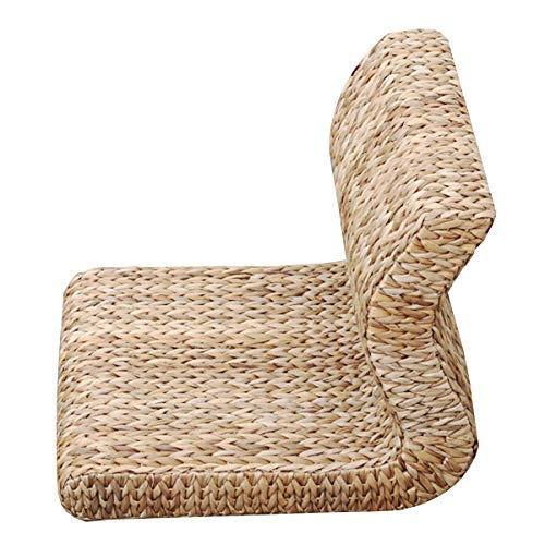 Japanese Style Floor Chair Handcrafted Eco-Friendly Padded Knitted Straw Chair with Backrest Meditation Chair,Hand Woven Tatami Floor Cushion Corn Maize Husk, 17.7x14.1x14.5x2.3inch
