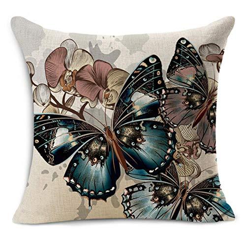 Ving Euro klassieke stijl Retro vlinder print Linnen katoen decoratieve sierkussen Decoratie Vintage kussensloop, paars, 45x45cm kussensloop