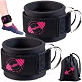 Ankle Straps for Cable Machines (Set of 2) Cable Attachments for Gym Ankle Straps Cable Straps Ankle Cuffs for Women and Men Padded Ankle Straps Gym Accessories (Black&Pink)
