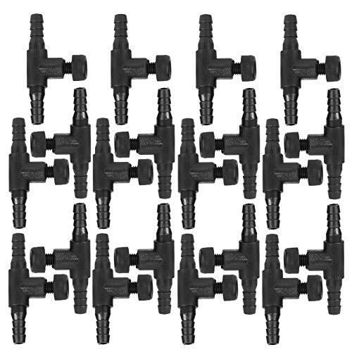 Atyhao Válvula de Control de Flujo de Aire, 20 Piezas, Conector en T de Acuario ABS Negro, Tubo de 3 vías, válvula de Control de Flujo de Aire de Volumen, Accesorios de Bomba de Aire para Peces