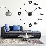 Afaneep Reloj de Pared 3D DIY Silencioso Gran Moderno Reloj sin Marco Adhesivo Etiqueta de Pared Decoración Ideal para la Casa Oficina Hotel - 2 Años de Garantía