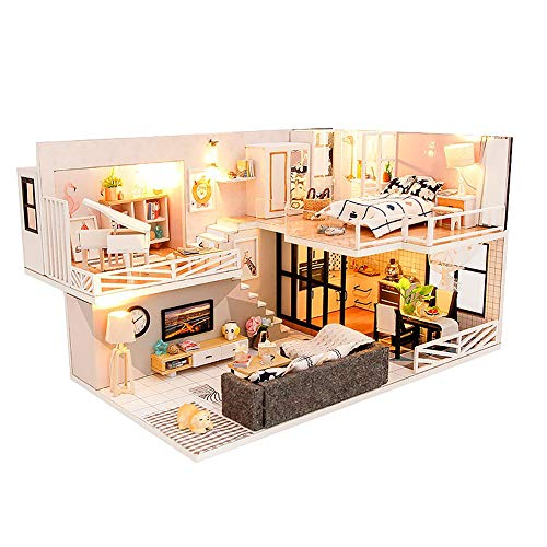 YANGUANG DIY Puppenhaus Kit Miniatur Haus Selber Bauen Zum Basteln Zubehör Holz Lern Spielzeug 3D Romantic Nordic Wohnung Exquisite Sammlerstücke