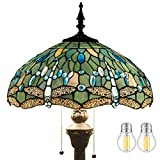 Tiffany Floor Lamp W16H64 Inch Tall(LED Bulb Included) Sea Blue Stained Glass Dragonfly Style Shade 2E26 Antique Base S147 WERFACTORY Standing Lighting Livingroom Dining Bedroom Coffee Lover Gifts