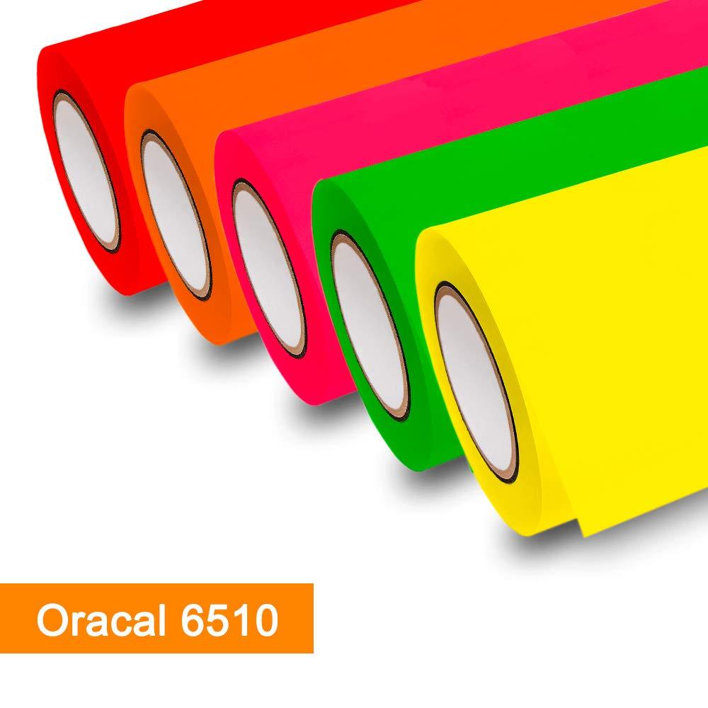 Lámina adhesiva de neón Oracal 6510 fluorescente Cast ï amarillo, naranja, rojo, verde y rosa para muebles, Verde neón - 069, 50m x 1m: Amazon.es: Hogar