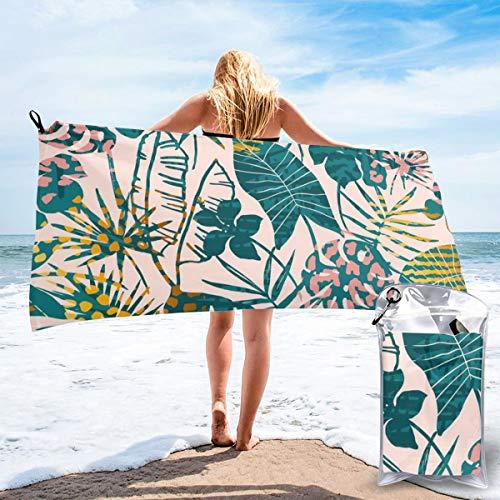 Colin-Design - Toallas de viaje de microfibra sin costuras, diseño exótico de plantas tropicales, secado rápido, ligera, sin arena, para tomar el sol, hacer mochila, deportes, yoga, natación, 160 x 81 cm