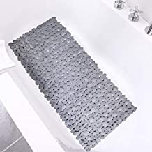 SONGZIMING Pebble Bath Mat 35x16 Inches for Bathtub to Non Slip in Shower with Drain Holes, Suction Cups (Grey)