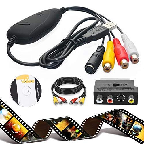 Grabador de vídeo y VHS a PC, audio VHS, adaptador de digitalizador de vídeo de DVD, TV, grabador de vídeo VHS VCR DVR a convertidor digital para grabación de su viejo VHS para Win 10