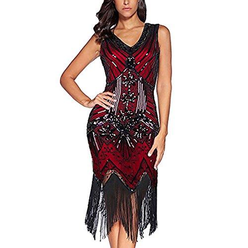 Flapper Vestidos de Mujer de los años 20 con Cuello en V con Cuentas de Flecos Great Gatsby Dress (Borgoña, XL)