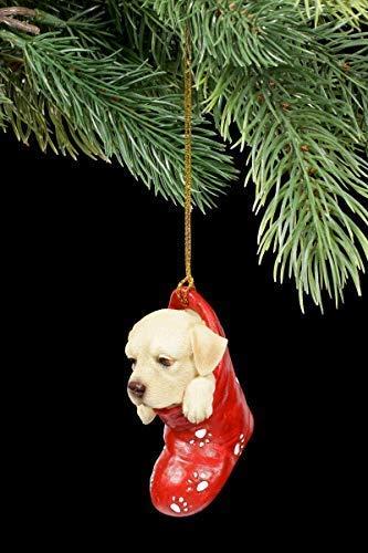 Figuren Shop GmbH Christbaumschmuck Hund - Labrador im Strumpf | Dekoartikel zum Hängen, Handbemalt