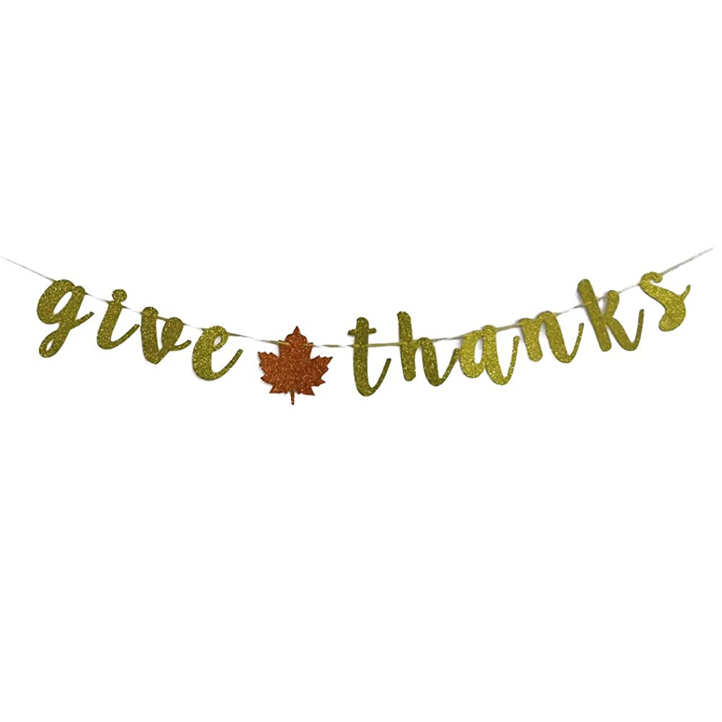 MAGQOO Black Glitter Give Thanks Banner Fall Decor Thanksgiving Day Decoration