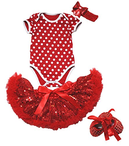 Petitebelle Birthday Dress Red White Polka Dots Jumpsuit Sequins Skirt Shoes 4pc Set Nb-18m (6-12 Monat)