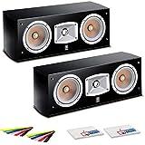 2 x Yamaha NS-C444 2-Way Center Channel Speaker (NS-C444) + 2 x Velcro Cable Straps + 2 x MicrofiberFiber Cloth