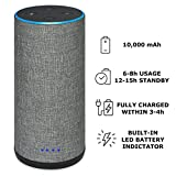 Wasserstein Battery Base for Echo 2, Gorgeous Linen-Covered Portable Power Bank with 10,000mAh Capacity for up 8 Hours of Continuous Playtime for Echo 2nd Generation (Grey Fabric Cover)