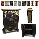 Oriental Galerie Wandschrank Schrank Holzschrank Kommode Flurschrank 90 cm Buddha Holz Rattan Gold, Modell:Buddha Braun
