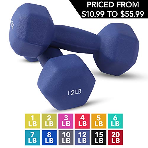 Neoprene Dumbbell Pairs by Day 1 Fitness – 12 Pounds - Non-Slip, Hexagon Shape, Color Coded, Easy To Read Hand Weights for Muscle Toning, Strength Building, Weight Loss