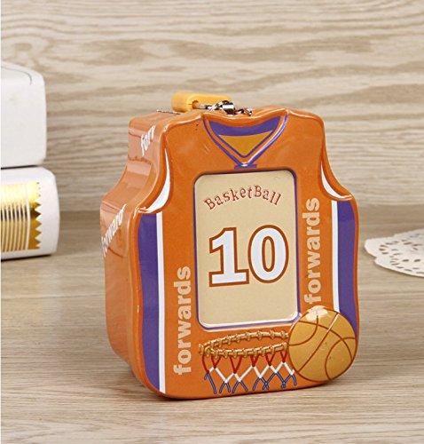 Abenily Münzen-Spardose-Geschenkbox Basketball Shirt Sparschwein Hochwertiger Zinn Aufbewahrungsbox mit Schloss (Orange)