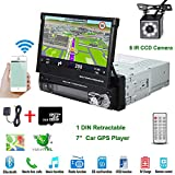Car Stereo in-Dash Single DIN 7' HD Touch Digital Screen Head Unit Support Bluetooth GPS Mirror Link FM/USB/SD/MP5/Hands-free with Backup Camera and Microphone by UNITOPSCI