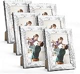 HOUSE DAY Marco de fotos 13x18cm 6piezas,cuadros de exhibición marco de patrón de madera vintage con marco de fotos de madera de vidrio acrílico irrompible para exhibición de mesa y pared,Blanco retro