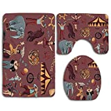 Retro Circus with Tent Tiger Head Balloons Dogs Art with Dark Coral Backdrop 3pc Alfombra de baño Antideslizante Set para baño Alfombra de Contorno en Forma de U Alfombrilla y Tapa de Inodoro