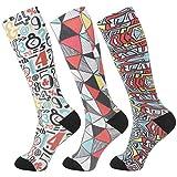 +MD 3 paia di calze compressive in microfibra (8-15 mmHg) per calze al ginocchio da donna per corsa, sport, infermieri, viaggi 43-46