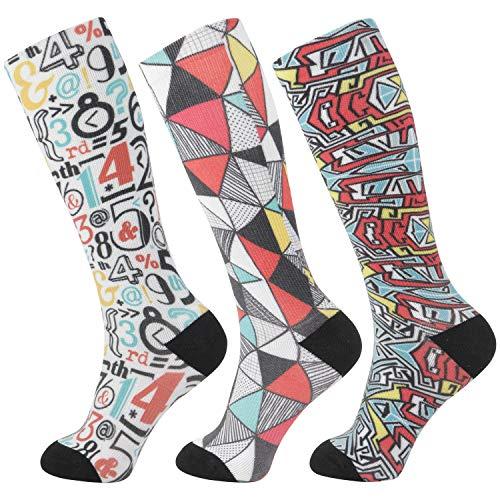 +MD 3 pares de medias de compresión de microfibra (8-15 mmHg) para mujeres calcetines hasta la rodilla para correr, deportes, enfermeras, viajes 43-46