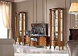 Composizione per Salotto e Soggiorno, Noce Scuro, cm: 61 cm - 39 cm - H 183 cm; Base Porta TV 2 Porte 1 cassetto 1 vano - 100% Made in Italy (SF17)