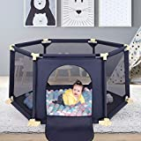 6-Panel Playard Baby Playpen Large Portable Activity Centre Play Center Fence with Breathable Mesh for Babies Toddler Newborn Infant, Indoor and Outdoor Play