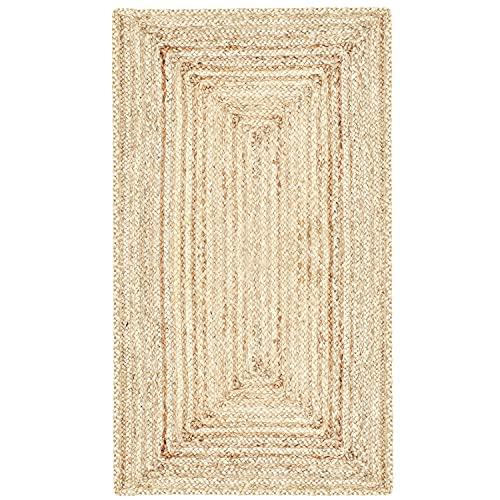 MARRAKESCH Handgewebter Jute Teppich Läufer Nora 110 x 60 cm groß | Teppichläufer geflochten als Fußmatte vor der Haustür innen oder draußen | Küchenläufer im Flur Badezimmer oder Küche