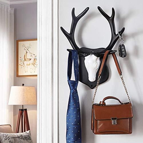 Kapstokhaken met 2 soorten wandhaken van zwarte doek en witte kop, decoratief voor de slaapkamer, hal.
