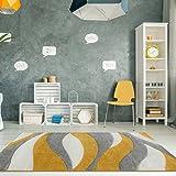The Rug House Alfombra para Sala de Estar Color Ocre Mostaza y Amarillo con diseño Ondulado 120cm x 170cm