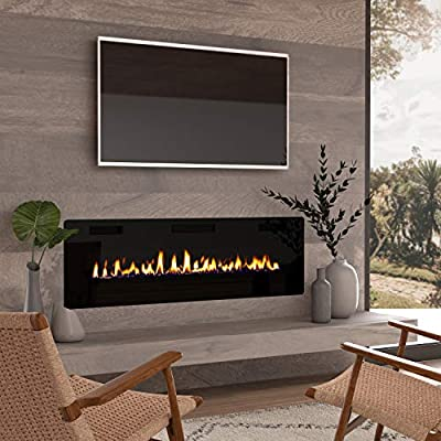 """Finefind 60"""" Electric Fireplace Recessed 3.86"""" Ultra Thin Insert, Wall Mounted and in Wall Easy Installation with Remote Control, 750W/1500W, Low Noise (Fake Fire)"""