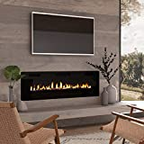 "Cloud Mountain 60"" Electric Fireplace Recessed 3.86"" Ultra Thin Insert, Wall Mounted and in Wall Easy Installation with Remote Control, 750W/1500W, Low Noise (Fake Fire)"