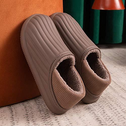 Ririhong Bolsa de Zapatillas de algodón Impermeable y Muebles para el hogar de Invierno para Hombres Felpa cálida EVA Ropa Exterior Antideslizante-Brown_43-44